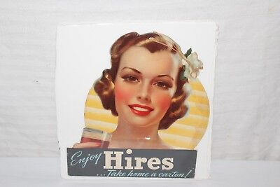 """Rare Vintage 1930's Hires Root Beer Soda Pop Gas Station 11"""" Sign~Nice"""