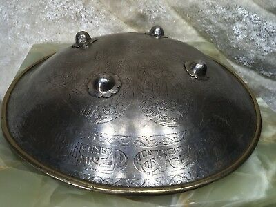 VTG antique BRONZE BRASS METAL Persian middle eastern Islamic King Fight Shield
