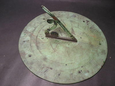 Dated 1644 Engraved Antique Pedestal Sundial  in Very Worn Faded Condition