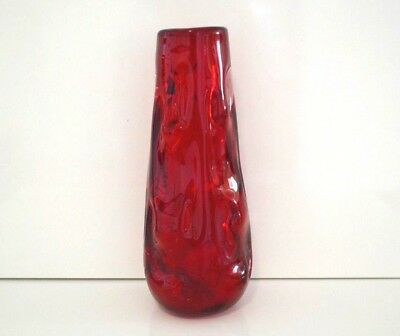 Whitefriars Knobbly Glass Vase In Ruby Red by G.Baxter