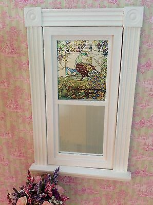 Peacock #2 Dollhouse Miniature Victorian Style Stained Glass Window film