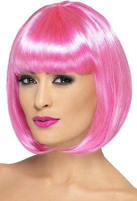 Smiffy's 12-inch Partyrama Wig Short Bob with Fringe - Pink