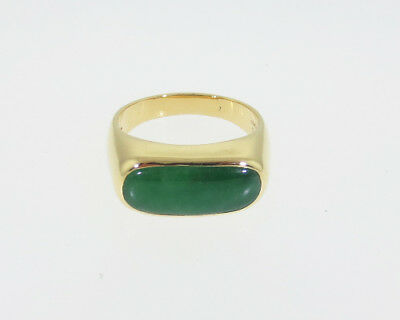 GIA Certified Natural Grade A Jadeite Jade Solid 18k Yellow Gold Men's Ring Band