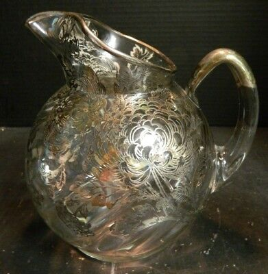 """Vintage Sterling Silver Overlay Chrysanthemums Ball Pitcher 8.5"""" x 6"""" Excellent"""