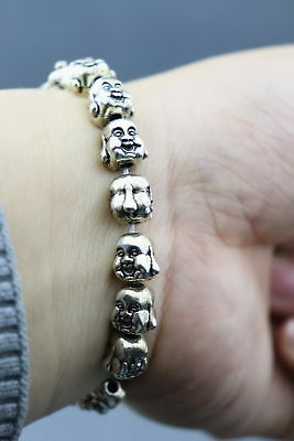 Collectable China Tibet Silver Carve 2 Face Buddha Head Lucky Girl Bracelet Gift