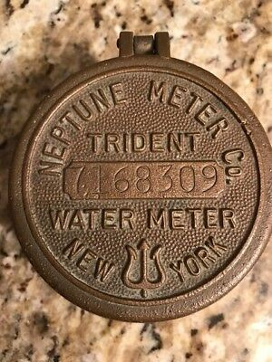Vintage Neptune Water Meter Cover Brass with Walnut BASE