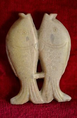 Antique CHINESE CARVED JADE STONE DOUBLE FISH TOGGLE / AMULET FIGURE