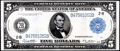 """104 YEAR-OLD 1914 LARGE-SIZE $5 """"TYPE-A"""" NEW YORK FR-851a"""