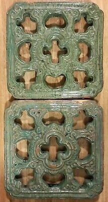 Two Old Chinese Breezeway Clay Tiles - Jade Green