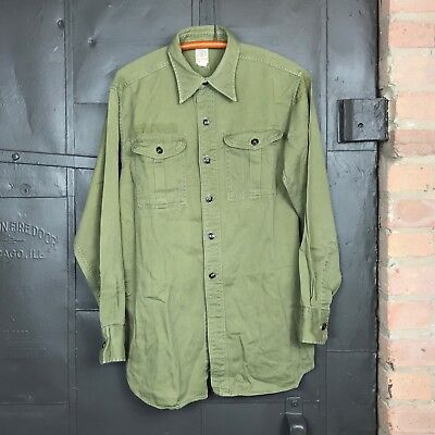 Vintage 1960s Boy Scout BSA Green Button-Up Unifrom Shirt Sz Large?