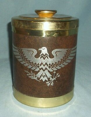Vintage Tobacco Humidor Jar Canister Faux Leather w Eagle Brass Color Cork Lined
