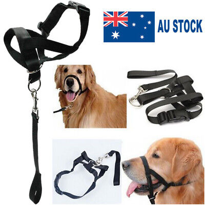 Dogalter Dog Halter Halti Training Head Collar Gentle Leader Harness Black AU