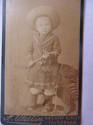 Rare 1880-90 Antique CDV Photo of CHILD WEARING WESTERN OUTFIT, Whip, GIFT