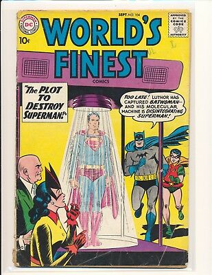 "World's Finest Comics # 104 Good Cond. 1"" spine split"