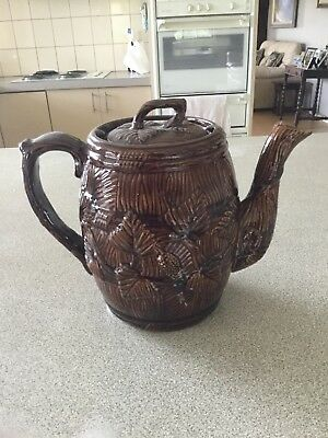 Very large rare early Bendigo Pottery Tea Pot