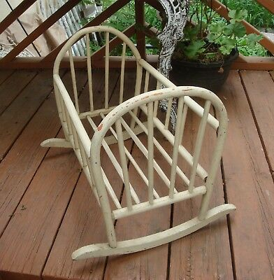 Early Bentwood Rocking Doll Cradle Painted
