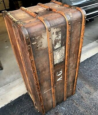Antique Steamer Trunk European Early 1900s Original Wood Detail Unrestored