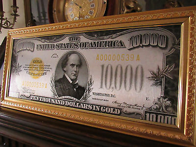 "AWESOME METAL PRINT! - US 1934 $10000 GOLD CERTIFICATE NOTE - 19""in wide, Framed"