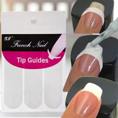 240Pcs Nail French Tips Manicure Nail Art Tips Form Guide Sticker Polish Stencil