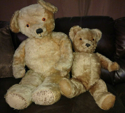 Pair of Large Antique Mohair Golden British Teddy Bears