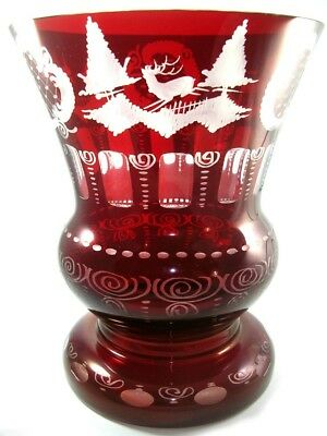 Large Vintage Bohemian Cut To Clear Ruby Red Glass Pedestal Vase by Egermann