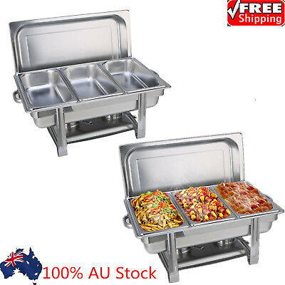3Pans Bain Marie Bow Chafing Dish Stainless Steel Food Buffet Warmer Stackable