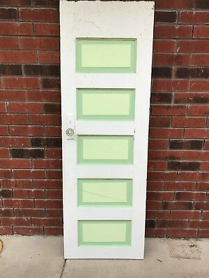 Antique Vintage 5 Panel  Solid Wood Interior Pantry Door With Glass Knob