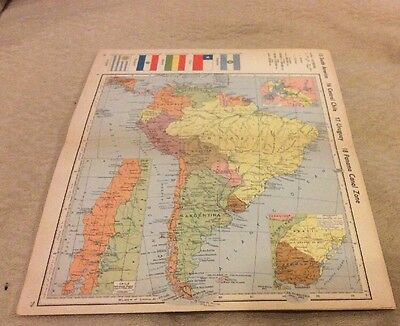 Vintage south American Map From An Old Atlas