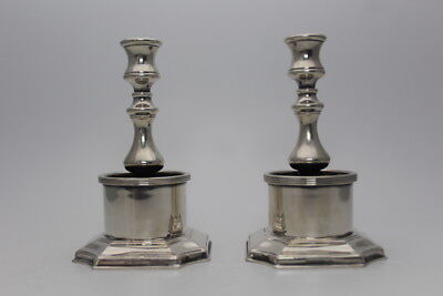 Very Unusual Silver Plated Candlesticks In A Georgian Style With Wax Collectors