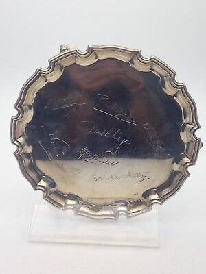 SOLID SILVER SALVER CARD SALVER WITH SIGNATURES c.1937