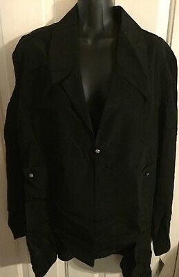 New Nwt $64 Womans Jacket Sz 4X L Black Slimming Julian Couture Open Dress Sexy