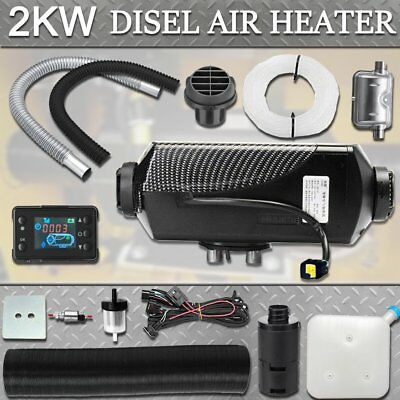 12V 2KW Diesel Air Heater Tank Vent Pump Silencer Fliter LCD Switch AU