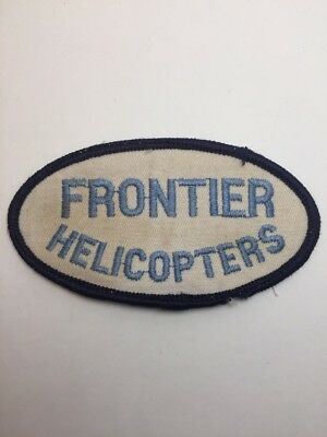"""Vtg Frontier Helicopters Sew On Embroidered Patch 4"""" Flying"""