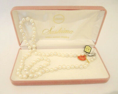 Vintage (Old New Stock) Strand Sashima Shell Based 8mm Pearls Silver Clasp 64cm