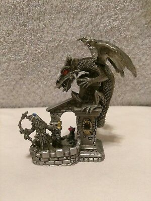 Pewter Diorama Wizard and Dragon