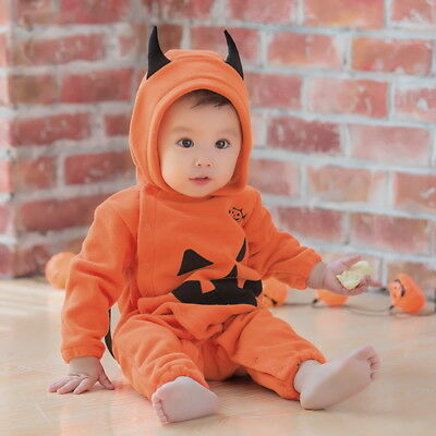 Kids Baby Pumpkin Bat Halloween Costume Infant 6-12 Months Party Outfit Cosplay