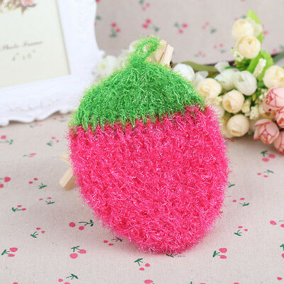 7EA0 Acrylic Stawberry Dishcloths Nylon Fiber Wash Cloth*Towel for Kitchen hot