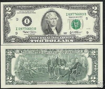 Usa United States 2 Dollars P516 2003 I Jefferson Unc Independence Painting Note