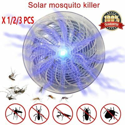 1/2/3X Mosquito Zapper Killer Solar Powered Buzz UV Lamp Light Fly Insect Bug