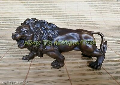Collectible Tibet old Bronze lion statue figurine Statue
