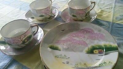OLD JAPANESE HAND PAINTED LUSTERWARE 3 sets of teacup&saucer 4 plates cherry tre
