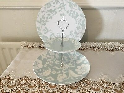 New In Box Laura Ashley 2 Tier Cake Stand Duck Egg Blue Siver Fittings