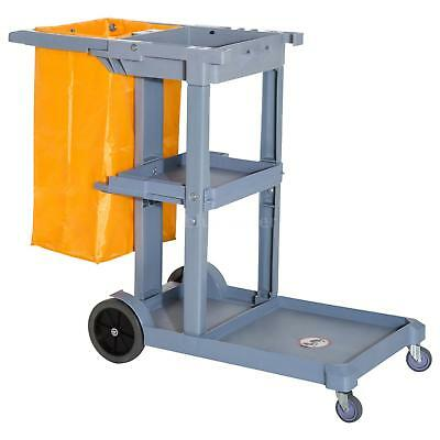 3 Shelf Housekeeping Commercial Cleaning Rolling Janitor Cart With 25 X7T0