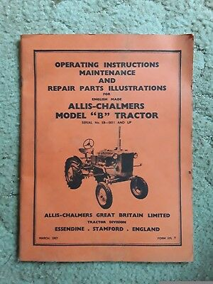 Allis Chalmers model B tractor instruction book