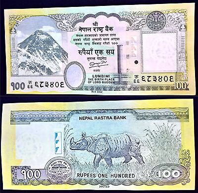 100 Rupees Nepal Currency 2015 Printing Mt Everest obverse One-horned Rhinos UNC