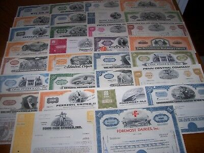 Lot of 30 Different Stock Certificates. L30-1