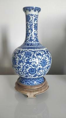 Superb Chinese Blue & White Porcelain Bottle Vase With Mark On Wood Base