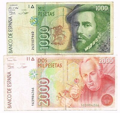 LOT OF TWO 1992 (1996) SPAIN 1000 & 2000 PESETAS NOTES - p163,164