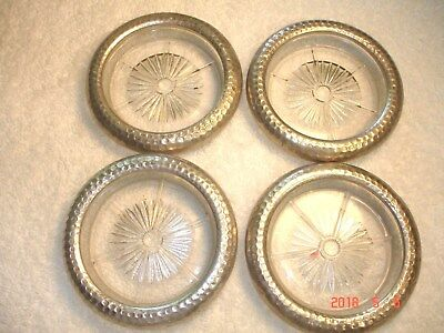4 Vintage Glass Coasters HAMMERED Aluminum Starburst Pattern