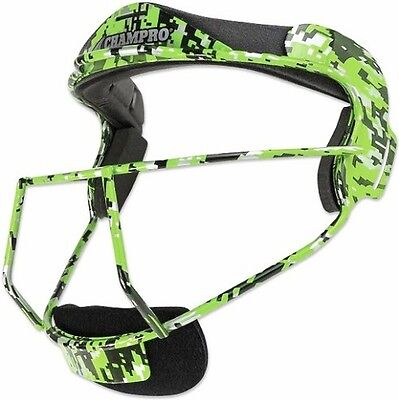 New CHAMPRO The Grill Softball Fielder Mask WideVision Green Camo Youth or Adult